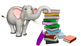 Cute Elephant cartoon character with book stack Royalty Free Stock Photography