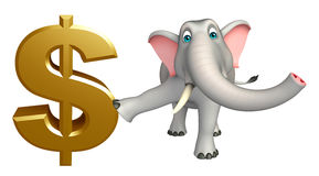 Cute Elephant cartoon character with doller sign Royalty Free Stock Photos