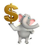 Cute Elephant cartoon character with doller sign Stock Photo