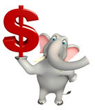 Cute Elephant cartoon character with doller sign Stock Photography