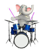 Cute  Elephant cartoon character  with drum Royalty Free Stock Images