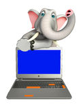 Cute Elephant cartoon character with laptop Stock Images