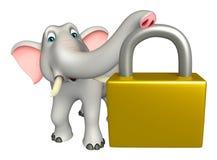 Cute  Elephant cartoon character with lock Stock Image