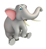 Cute  Elephant cartoon character with  sitting down. 3d rendered illustration of Elephant cartoon character with  sitting down Royalty Free Stock Photos