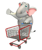 Cute Elephant cartoon character with  trolly Royalty Free Stock Images