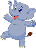 Cute elephant cartoon dancing royalty free illustration