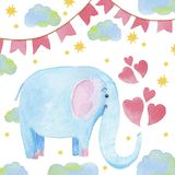 Cute elephant with cartoon hand drawn watercolor illustration. Can be used for baby t-shirt print, fashion print design, kids wear. Baby shower celebration Stock Illustration