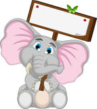 Cute elephant cartoon holding blank board Royalty Free Stock Photos