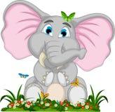 Cute elephant cartoon sitting in garden. Illustration of cute elephant cartoon sitting in garden Stock Illustration