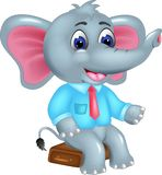 Cute elephant cartoon sitting with smile and waving. Vector illustration of cute elephant cartoon sitting with smile and waving Royalty Free Stock Images