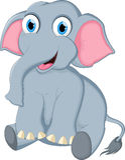 Cute elephant cartoon sitting for you design Stock Image