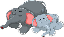 Cute elephant cartoon sleeping with her baby Stock Images
