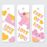 Cute elephant, cupcake, and letter  cartoon illustration for Valentine gift tags design Stock Photo