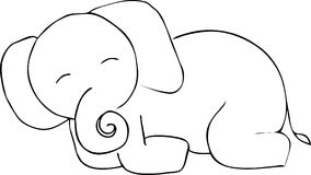 Cute elephant doodle. Vector image Stock Photo