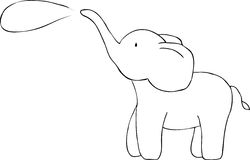 Cute elephant doodle. Vector image Stock Image