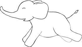 Cute elephant doodle. Vector image Stock Photography