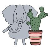 Cute elephant with exotic cactus in ceramic pot. Vector illustration design royalty free illustration