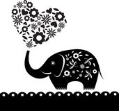Cute elephant with flower heart card(60).jpg Stock Image