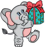 Cute elephant with gift Royalty Free Stock Photography