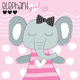 Cute elephant girl vector illustration royalty free illustration