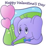 Cute Elephant. Happy Valentine`S Day. Balloon. card vector illustration