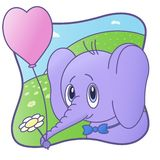 Cute Elephant. Happy Valentine`S Day.Flower, balloon. card stock illustration