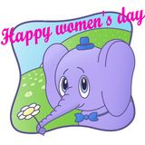 Cute Elephant. Happy women`s day.Flower,card stock illustration