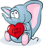 Cute elephant hold red heart - vector Royalty Free Stock Photos