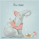 Cute elephant with little hares Royalty Free Stock Photo