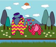 Cute elephant in love.  illustration. On nature background Stock Image