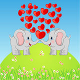 Cute Elephant in Love Royalty Free Stock Photos