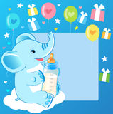 Cute elephant with milk bottle. Welcome baby boy card. Royalty Free Stock Image