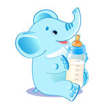 Cute elephant with milk bottle. Welcome baby boy. Stock Images