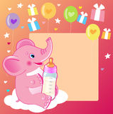 Cute Elephant With Milk Bottle. Welcome Baby Girl Card. Vector Illustration. Cute Elephant Drawing. Happy Birthday. Cute Elephant Baby Eating. Cute Elephant Stock Photography
