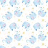 Cute elephant pattern. Seamless watercolor background with blue elephant cartoon character. Minimal baby or children print design. royalty free illustration