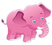 Cute Elephant pink. On white background Royalty Free Stock Images