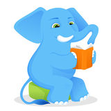 A cute elephant reading a book Royalty Free Stock Photography