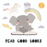 Cute elephant reading a book royalty free illustration