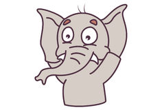 Cute Elephant scared and hands raised up. Stock Image