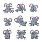 Cute Elephant Set Stock Image