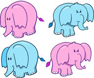 Cute Elephant Set. Vector Illustration Stock Images