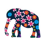 Cute elephant silhouette with bright flowers Stock Photography