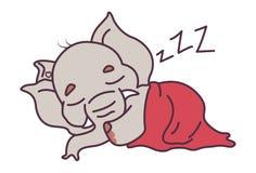 Cute Elephant sleeping in the blanket. Stock Photo