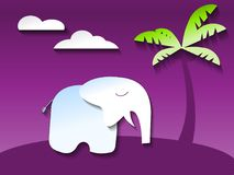 Elephant in ultraviolet jungle, paper art style vector. Cute elephant in ultraviolet jungle, paper art style vector Stock Photos