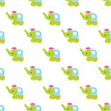 Cute elephant in a watering can on a white background Seamless pattern Royalty Free Stock Images
