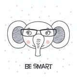 Cute elephant wearing glasses vector illustration