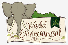 Cute Elephant with World Environment Day Sign, Vector Illustration Royalty Free Stock Photos