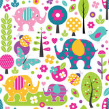 Cute elephants in colorful forest pattern Royalty Free Stock Photo
