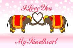 Cute Elephants forming heart shape Stock Photo