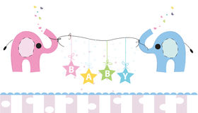Cute elephants with gift box vector background. Happy birthday greeting card Stock Photo